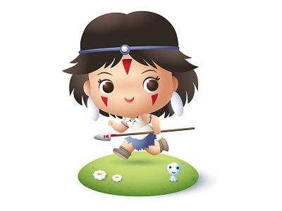 Little Wolf Princess kawaii cute jmaruyama studio ghibli san princess mononoke