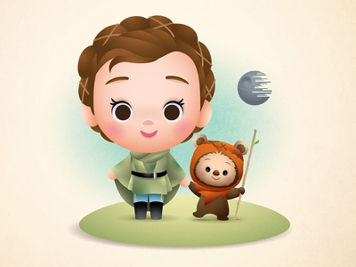 Leia & Wicket return of the jedi may the 4th be with you ewok wicket princess leia star wars