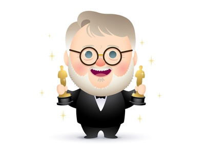 Guillermo the shape of water academy awards caricature character design illustration jerrod maruyama oscars guillermo del toro