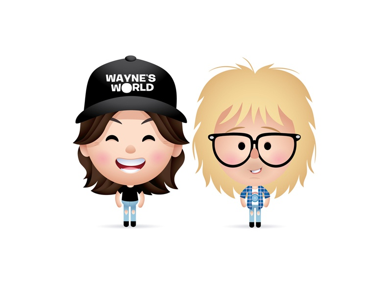 Party On! dana carvey mike meyers snl waynes world caricature character design illustration kawaii cute jmaruyama gallery 1988 sewcute
