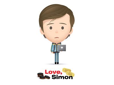 Love, Simon icon logo movies love simon kawaii cute charater design caricature