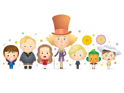 Candy Man vector kawaii cute caricature icons illustration character design jmaruyama willy wonka gallery 1988