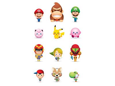 Super Smash Cuties illustration character design icons kawaii cute jerrod maruyama jmaruyama sew cute gallery 1988 super smash bros