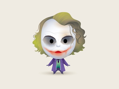 Why So Serious? character art illustration caraicature jerrod maruyama jmaruyama the dark knight heath ledger kawaii cute the joker