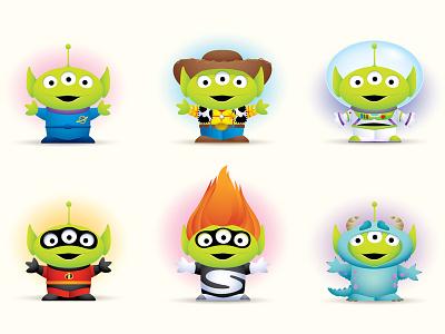 Little Green Men greeting cards illustration character design cute pixar studio store jerrod maruyama jmaruyama little green men toy story pixar disney