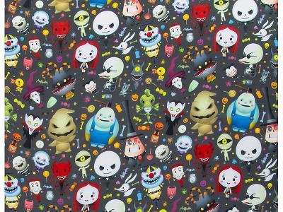 Nightmare of Cute - Scarf wonderground gallery tim burton disney jerrod maruyama jmaruyama repeat pattern merchandise design kawaii cute character design illustration nightmare before christmas
