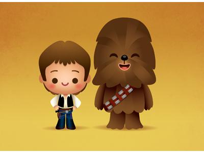 Kawaii Han and Chewie star wars may the 4th be with you han solo chewbacca kawaii cute