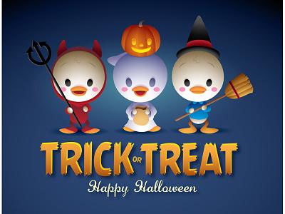 Trick Or Treat halloween ducks kawaii cute character desig louie dewey huey disney