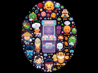 Arcade Cuties icons adobe illustrator illustration jmaruyama kawaii cute character design