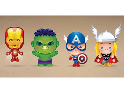 Kawaii Avengers kawaii cute marvel disney thor hulk iron man captain america