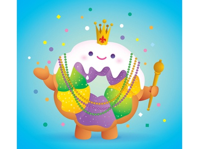 King Cake character design kawaii cute fat tuesday king cake illustration mardi gras