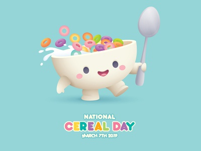 Cereal Day advertising sweet kawaii cute vector adobe illustrator character design mascot illustration