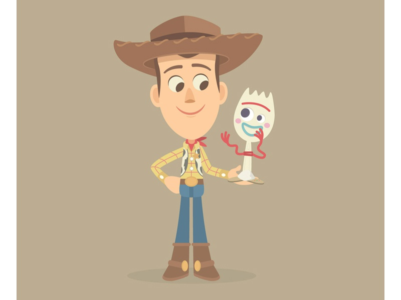 Woody and Forky character art woody disney pixar animation cute illustration character design
