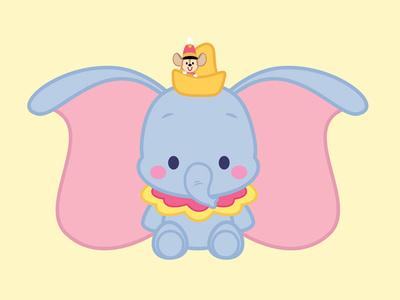 Dumbo dumbo disney icon kawaii storybook childrens illustration cute illustration character design