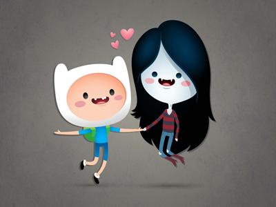 Finn and Marceline adventure time finn cartoon network marceline vampire queen cute kawaii chibi