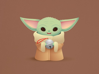 Baby Yoda christmas holiday childrens illustration kawaii cute star wars character design