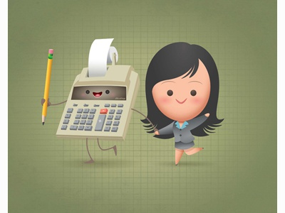 Kawaii Adding Machine accounting cute kawaii chibi caricature