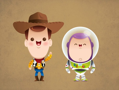 Kawaii Woody and Buzz kawaii cute chibi woody buzz lightyear toy story pixar disney