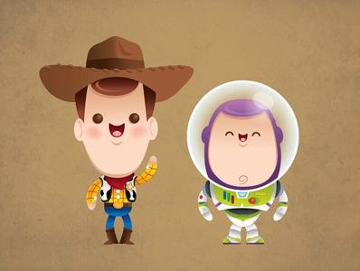 Kawaii Woody and Buzz kawaii cute chibi woody buzz lightyear toy story pixar disney