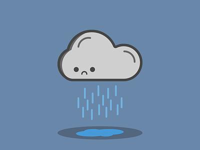 Sad Cloud galicia vector grey blue sketch illustration cloud sad