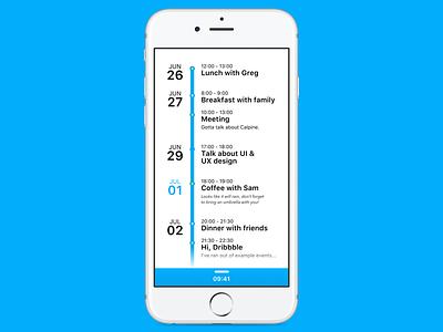 Calendar App Timeline blue weather ui screen iphone ios calendar apps apple app