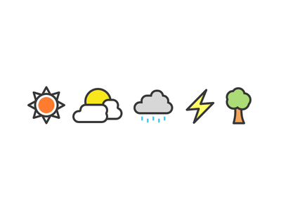 Weather Icons colorful color weather minimalist flat vector icons icon