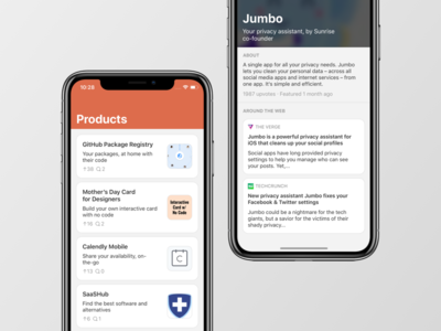 Products App — Product Hunt on iPhone