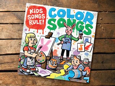 Kids Songs Rule Color Songs cartooning watercolor illustration album art