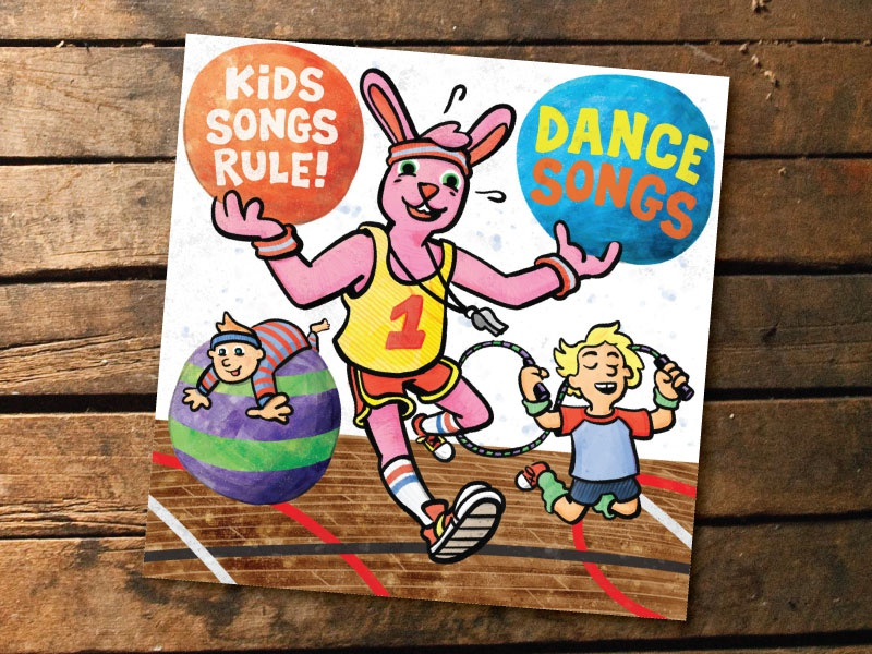 Kids Songs Rule Dance Songs watercolor illustration cartooning album art
