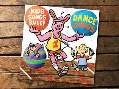 Kids Songs Rule Dance Songs watercolor illustration cartooning album art