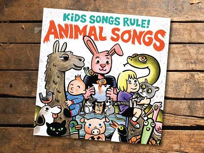 Kids Songs Rule! - Animal Songs cartoon illustration album cover