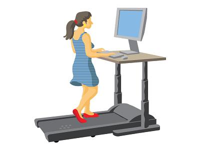 Treadmill Desk Vector illustration flat illustrator vector