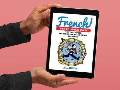 French Verbs Made Easy eBook Cover ebook design illustration