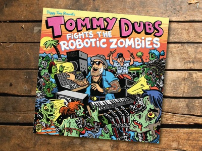 Tommy Dubs Fights the Robotic Zombies Album Cover album art typography illustration