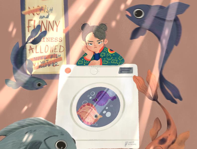 Fish Laundry Day personal work laundry koi fish art illustraion fish procreate digital art