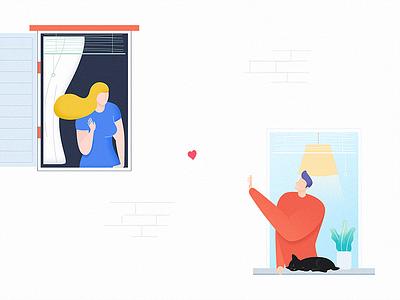 She lives next door 🙋❤️🙋♂️ window mlgb uoko hello hey greet illustration next door she