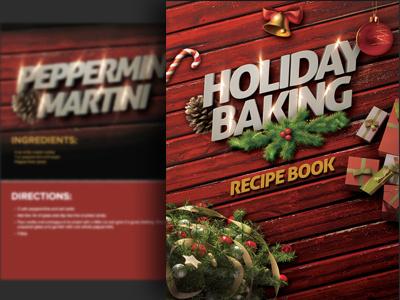 Holiday Baking Recipe e-Book ebook design christmas holiday baking book graphics print wood ornament