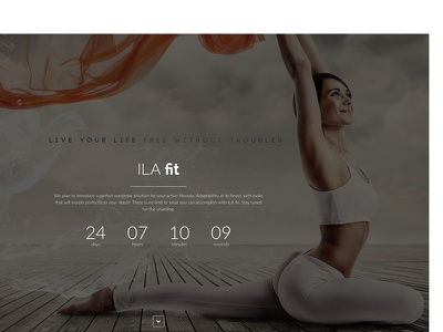 ILA fit Coming Soon coming soon web webpage clothing yoga design landing page