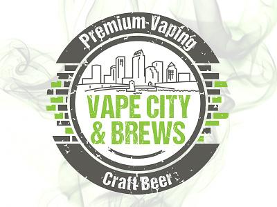 Logo Design for Vape City & Brews badge round brick city vape green design logo