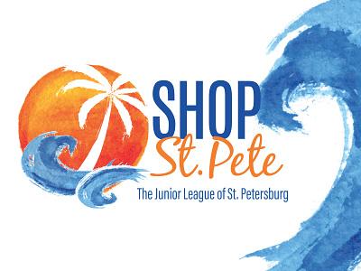 Shop St. Pete Branding palm tree sun waves orange blue logo tropical design branding