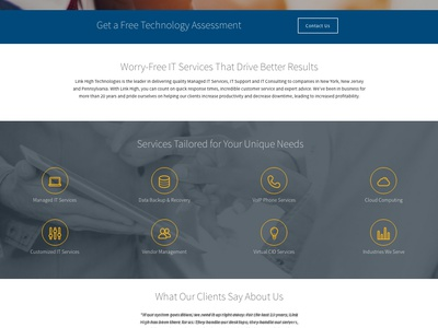 Link High Technologies Web Site orange blue ux ui msp tech web website