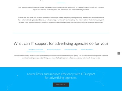 Aspire Technologies Web Site it company msp ux ui outdoor blue responsive website web