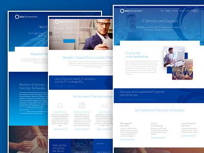 Zen | TechWorks Site Design it company msp ux ui blue responsive website web
