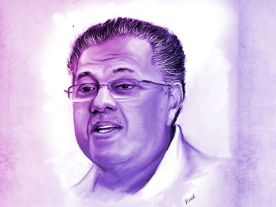Portrait Study Drawing colour vacom celebrity study faces charecter design minister art illustration blue design shading pencil sketch adobe photoshop