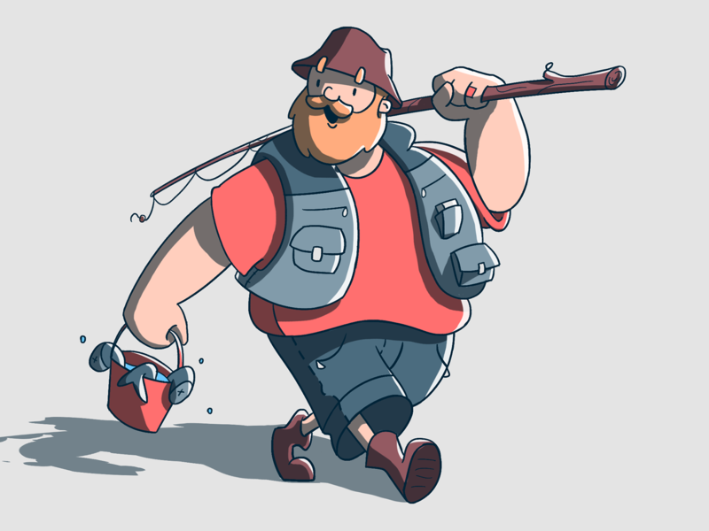 Fisherman fish fisherman character design fireart studio fireart illustration 2d character