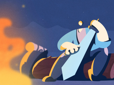 Sword fire cel animation characters explainer explain ninja 2d character motion design motion graphics fireart studio fireart animation