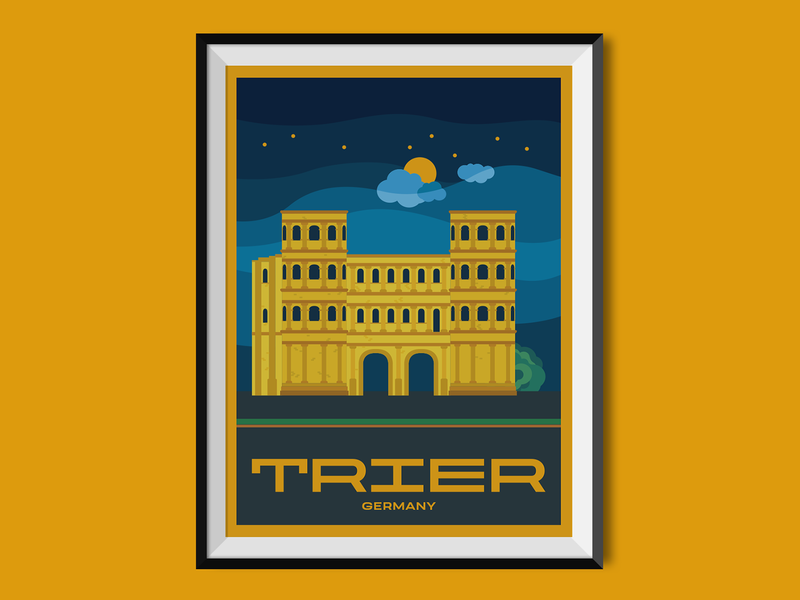 Trier united kingdom travelling poster design poster places flat illustration flat design city illustration