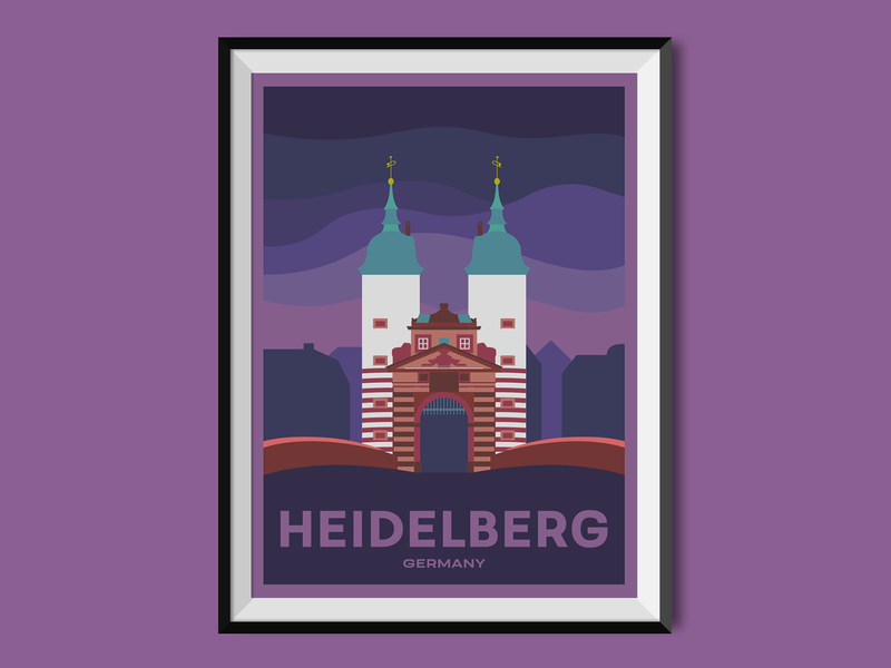 Heidelberg places heidelberg germany poster design poster cityscape city flat illustration flat design city illustration