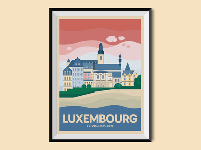 Luxembourg old town town castle travel poster places flat illustration flat design cityscape city illustration city