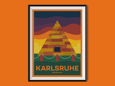 Karlsruhe germany karlsruhe pyramid travel poster design poster flat illustration cityscape city illustration city